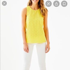 Lilly Pulitzer Pineapple Yellow Iona Top NWT XS